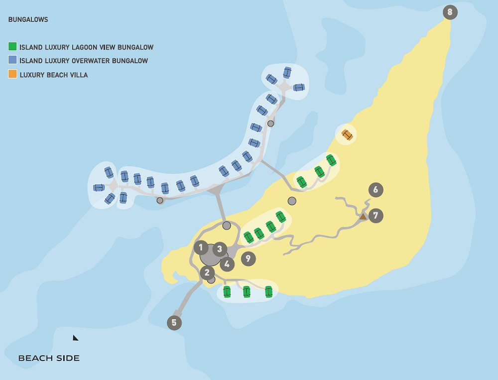 resort layout to the bungalows that are overwater in Bora-Bora Sofitel Private Island