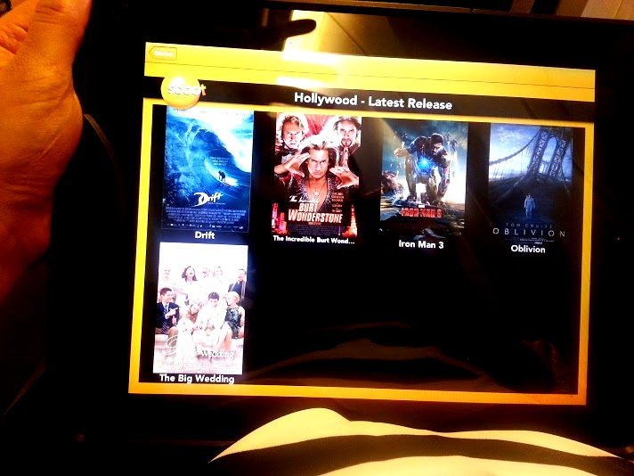 Fly Scoot's own tablet which you can rent for an additional cost, offers very limited movies