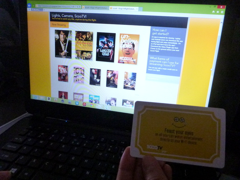 entertainment selection at FlyScoot's Scoot Biz video streaming feature