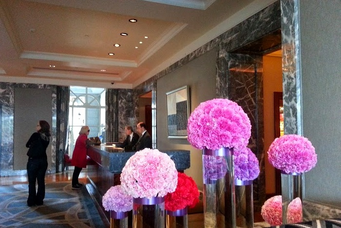 Concierge at the Four Seasons Hotel Dublin. Look at those pretty flowers!