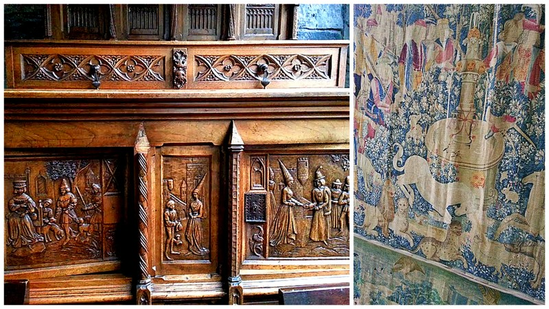 intricate and historical wood carving, historical tapestries. just among the many decors of the Clontarf Castle Hotel