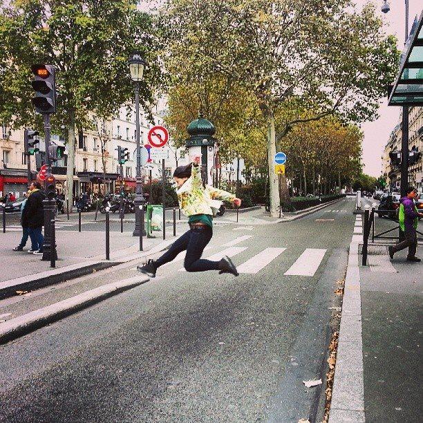 Jaywalking in style. Paris.