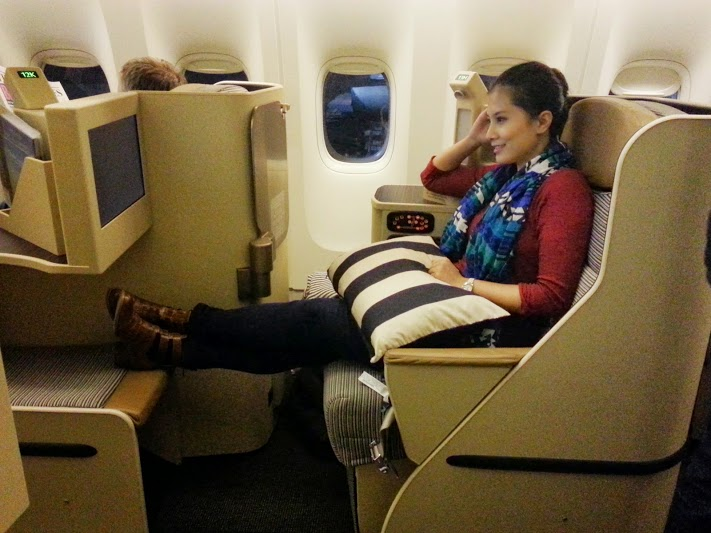 Etihad business class seat on the Boeing 777 Abu Dhabi to Dublin