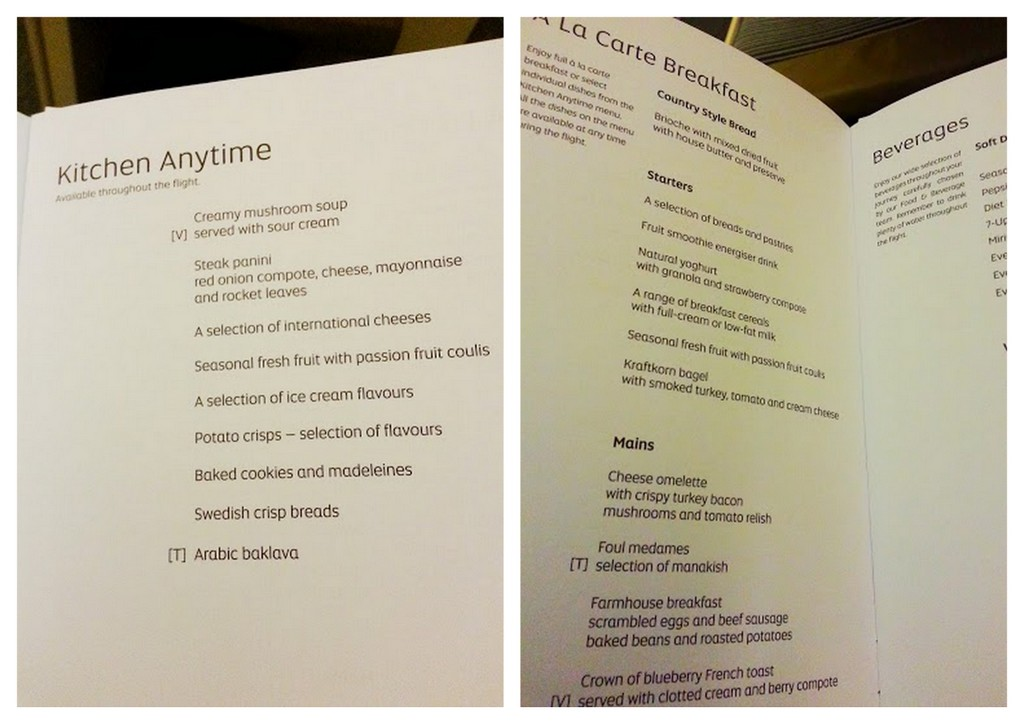 Etihad business class menu Abu Dhabi to Sydney. You gotta love the Kitchen Anytime service!