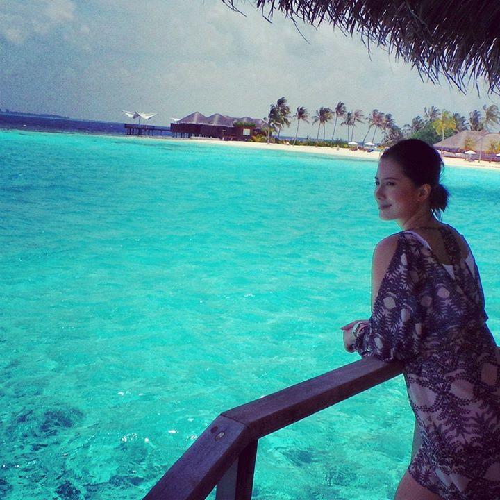 balcony in a water villa. Maafushivaru, Maldives