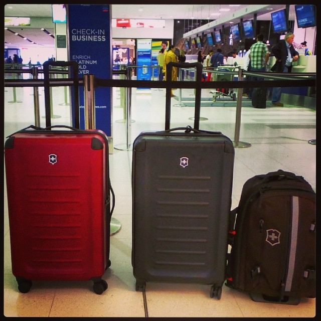 The Victorinox luggage family excited and looking very promising. Start of the trip.