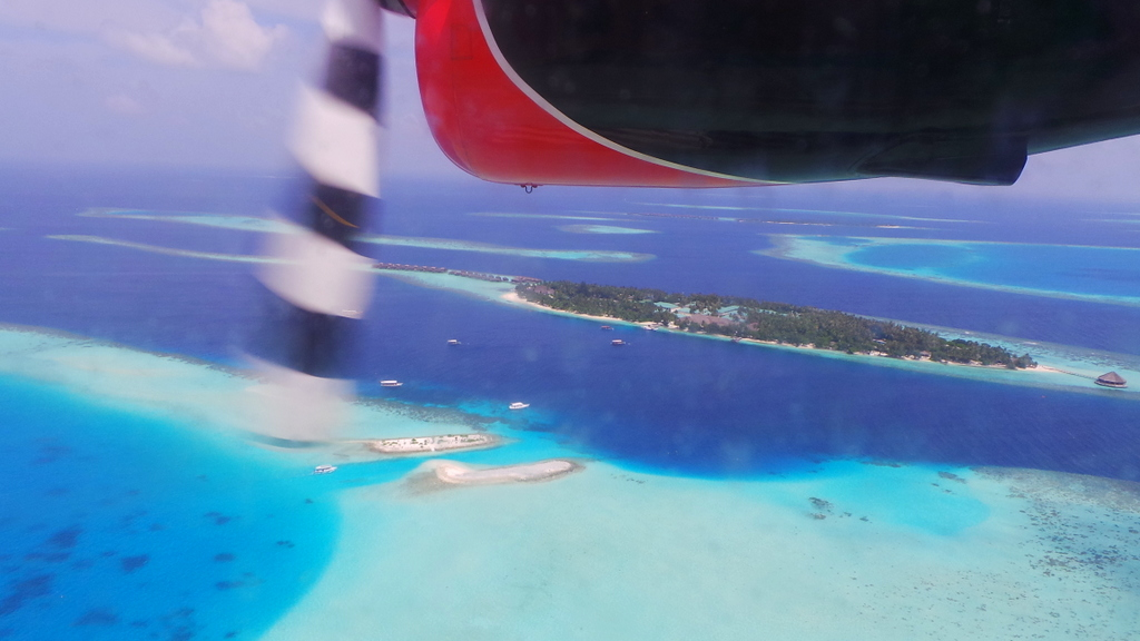 Seaplane view over the Maldives