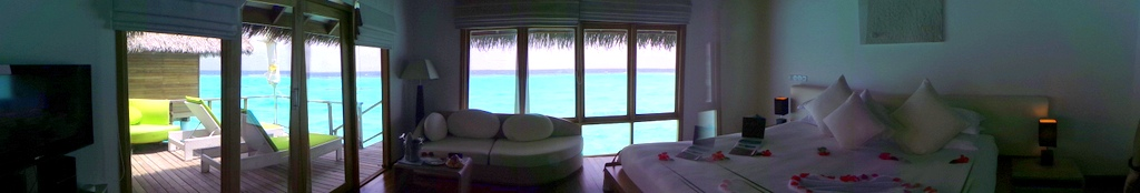 panoramic shot of our water villa, Maafushivaru Maldives