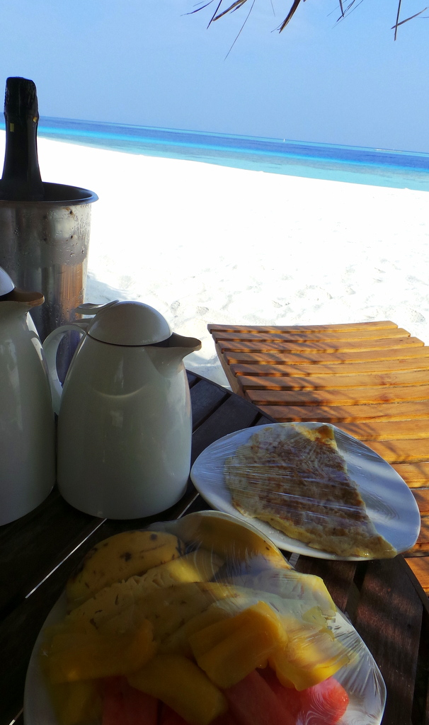 Breakfast is served at Lonubo Private Island , Maafushivaru Maldives