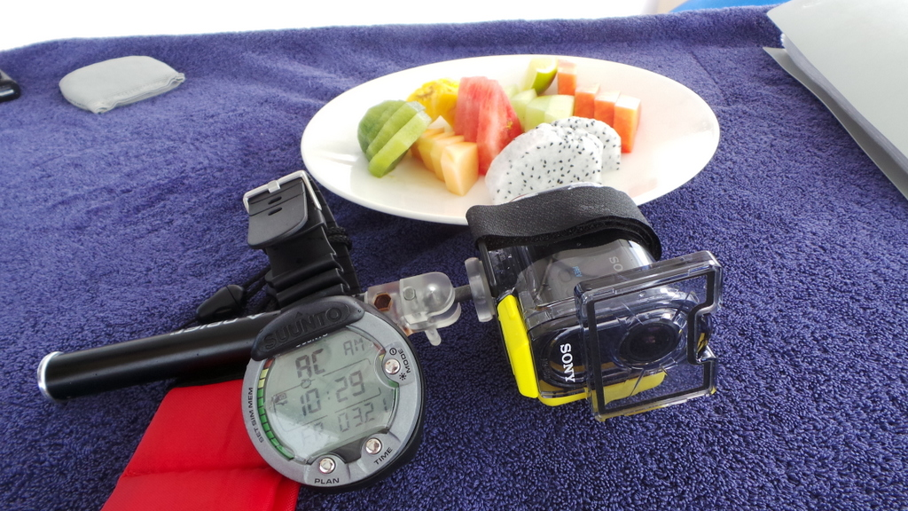 diving essentials! Diving watch, underwater camera (Sony HDR AS30V and pre-dive fruit)