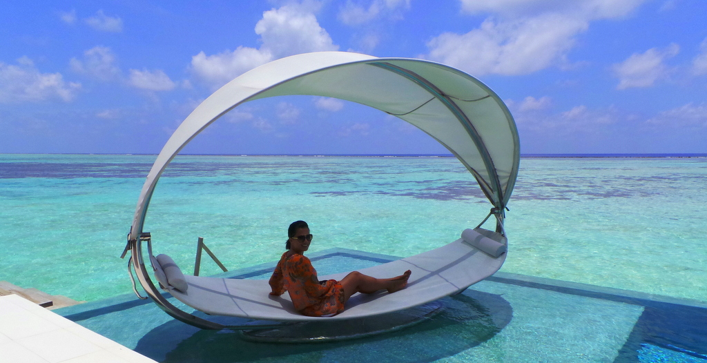 In one of the Water Pavillions.NIYAMA Maldives review
