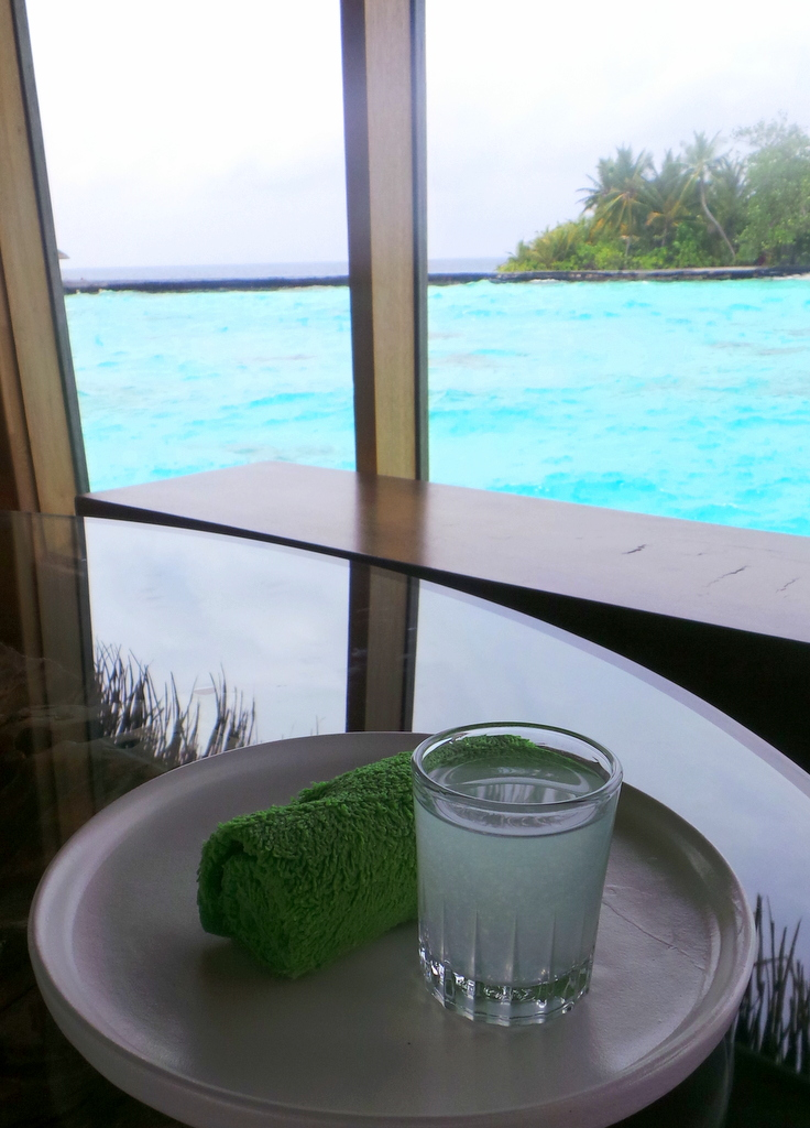 A shot of lime drink. LIME Spa, Huvafen Fushi Maldives