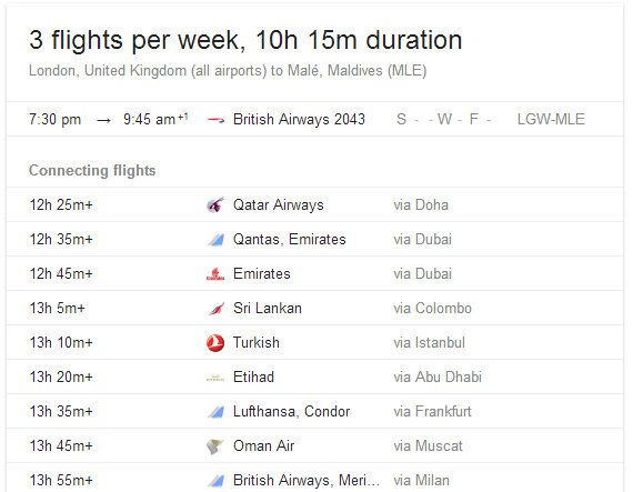 flights from London to Male (Maldives) as of MAY 2014