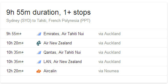 current flights from Sydney to Tahiti as of May 2014