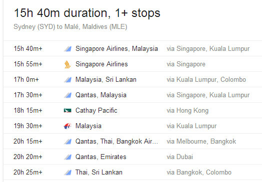 Flights from Sydney to Male (Maldives) as of MAY 2014
