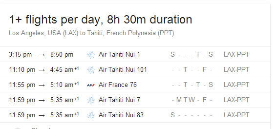 Flights from Los Angeles to Tahiti as of MAY 2014