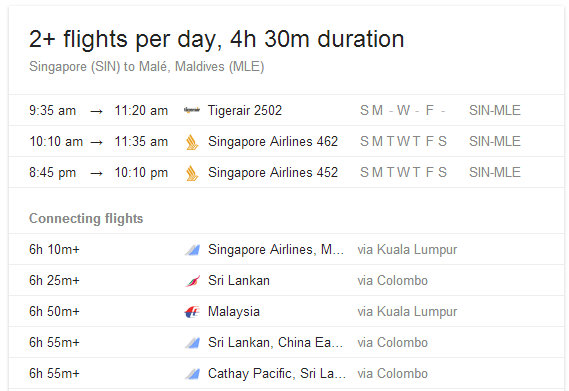 flights from Singapore to Male (Maldives) as of MAY 2014