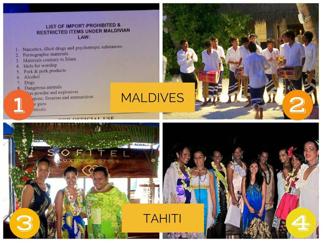 1. the arrival card into the Maldives listing prohibited items 2. a boduberu performance in the Maldives 3. Being welcomed by Tahitian women in Bora-Bora 4. Myself with the winners of Ms Trans-Tahitian Pagenat