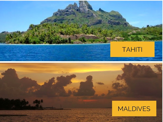 French Polynesia has lots of mountains. The Maldives has the endless sea