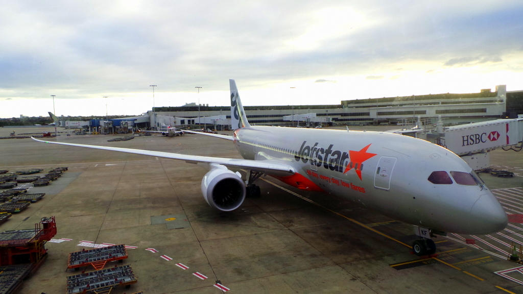 The Dreamliner Boeing 787, at Sydney Airport