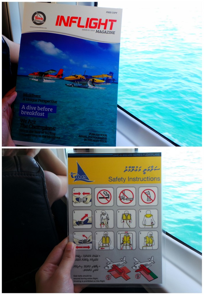 in-flight magazine and safety card