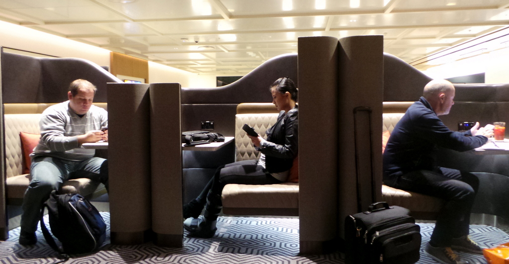 Personal working pods. SilverKris Lounge at Sydney Airport