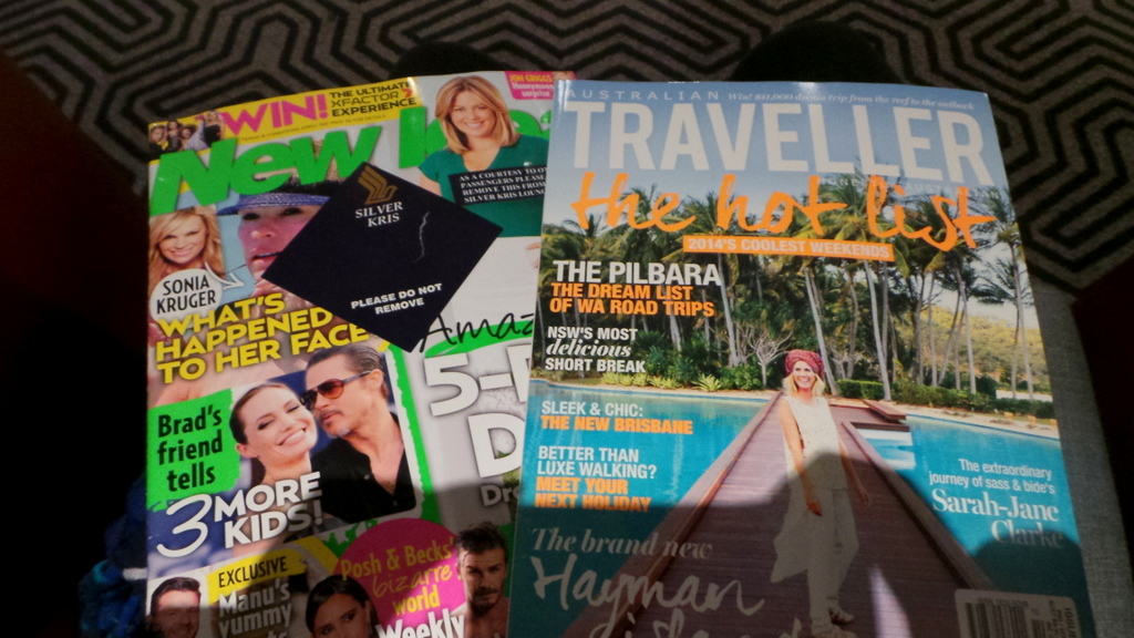 my magazine selection at SilverKris Lounge in Sydney