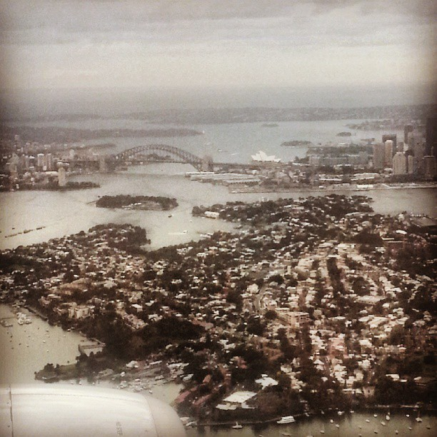 View from landing in Sydney: The Harbour Bridge and Opera House