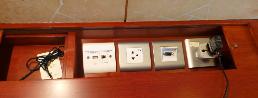 not lacking in power outlets- Kowloon Shangri-la