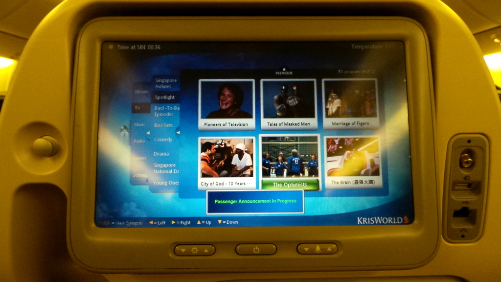 entertainment system SQ 231 Singapore to Sydney B777-300 ER