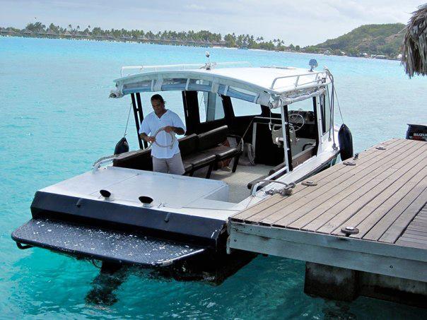 Speedboat transfer from the private island to the main island. Sofitel Bora Bora