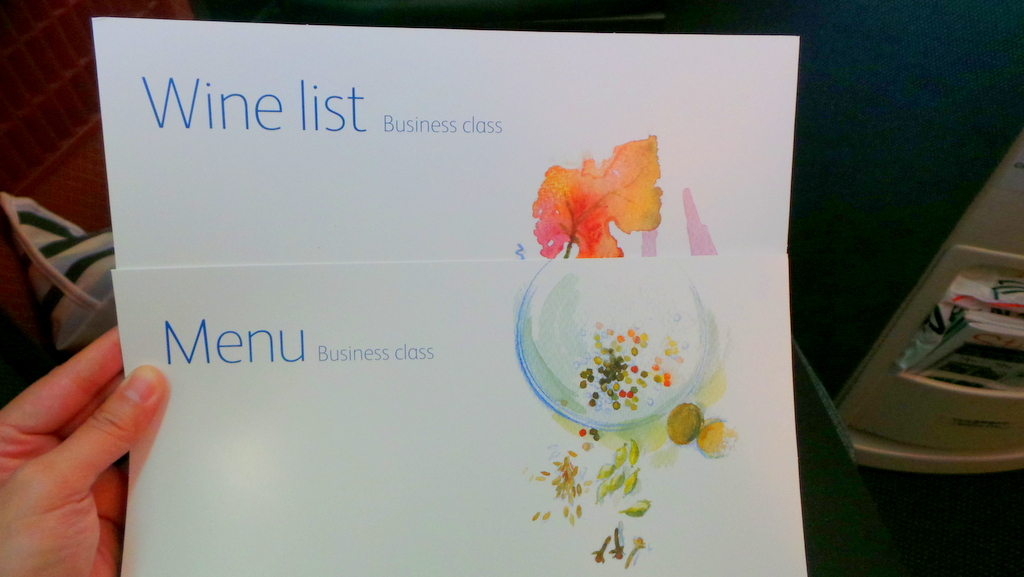 Menu & Wine List, Cathay Pacific Business Class CX 162 Sydney to Hong Kong