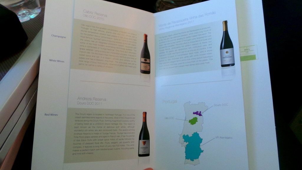Wine Selection from Portugal. Business Class Cathay Pacific CX 162 Sydney to Hong Kong