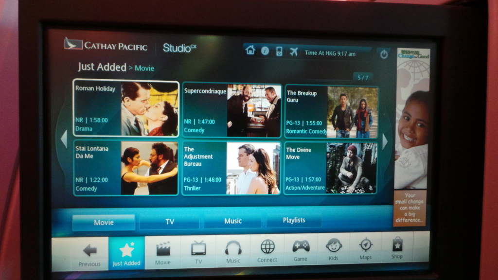 Entertainment System -- Cathay Pacific Business Class CX 162 Sydney - Hong Kong