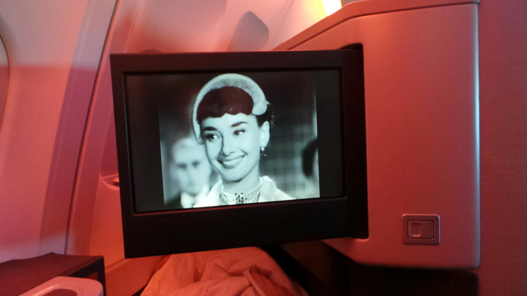 Watching Roman Holiday, Cathay Pacific Business Class Entertainment system CX 162 Sydney to Hong Kong
