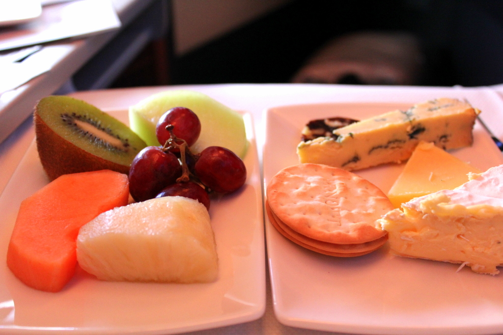 Dessert platter 1 - Fruit and Cheese. Cathay Pacific CX 162 Sydney to Hong Kong, business class