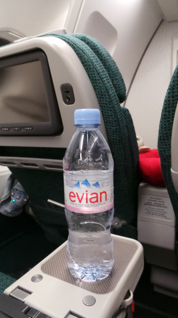 Cathay Pacific Premium Economy CX 293 Hong Kong to Rome: Individual water bottles
