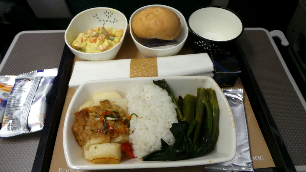 Cathay Pacific Premium Economy meal CX 293 Hong Kong to Rome