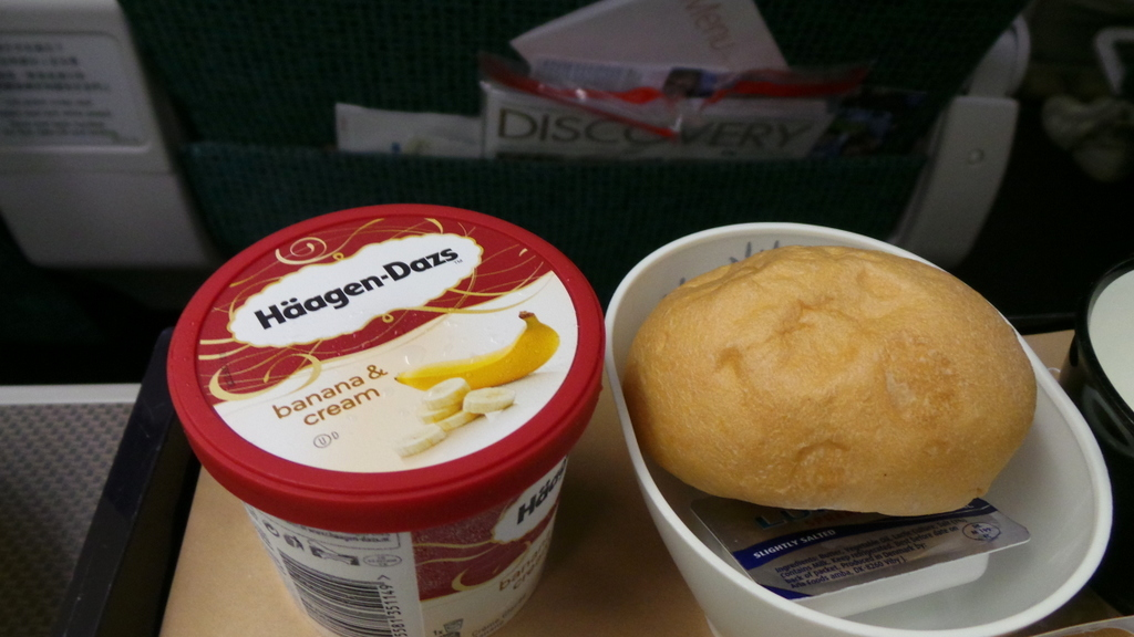 Ice Cream dessert on Cathay Pacific's Premium Economy CX 293 Hong Kong to Rome