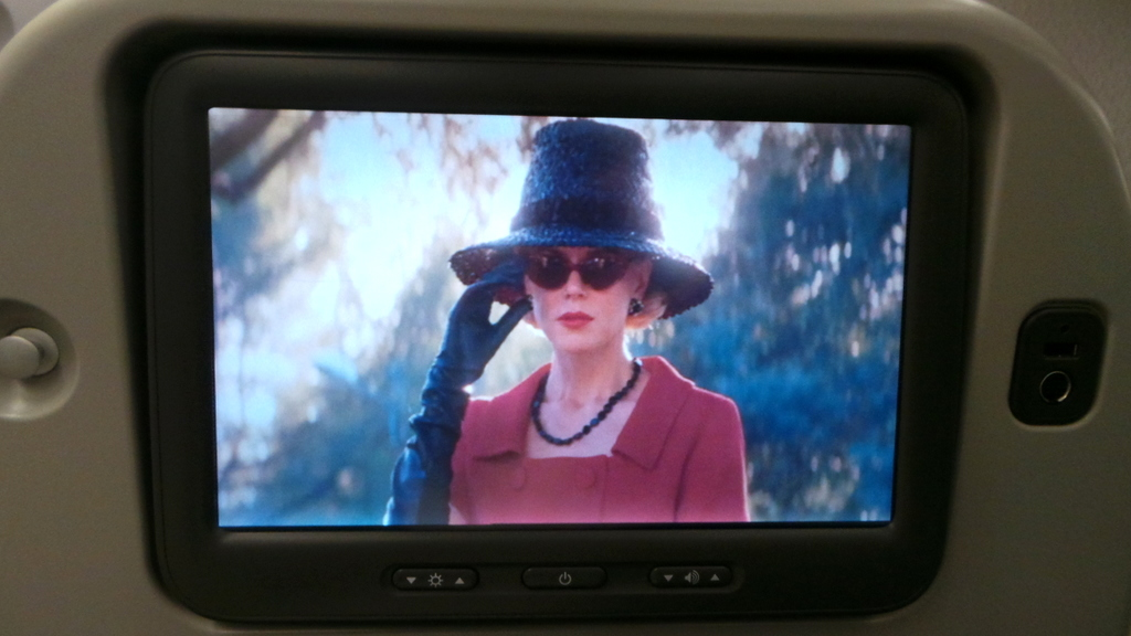 watching Grace of Monaco. Cathay Pacific Premium Economy CX 293 Hong Kong to Rome