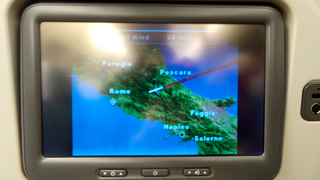 Landing into Rome. Cathay Pacific Premium Economy CX 293 Hong Kong to Rome