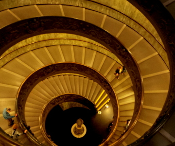 stairs leading to the exit grounds of the Vatican