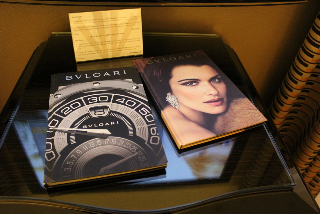 Bvlgari reading material at Jumeirah Grand Hotel Via Veneto Rome