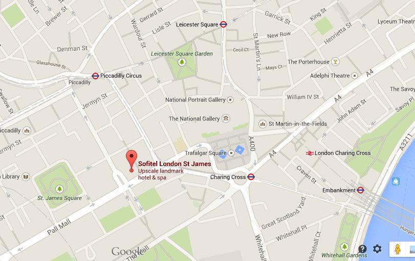 Location of Sofitel London St James