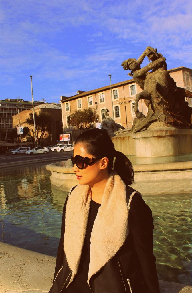 wearing the Prada Baroque sunglasses in Rome