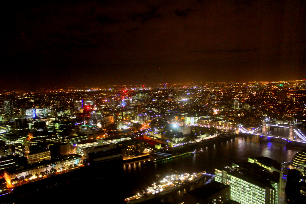 View of London at night from my room at The Shangri-la Hotel at The Shard