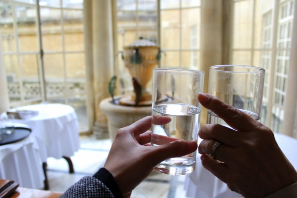 Toasting to Mineral Water at the Pump Room in Bath