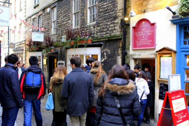 People waiting. Sally Lunn's in Bath