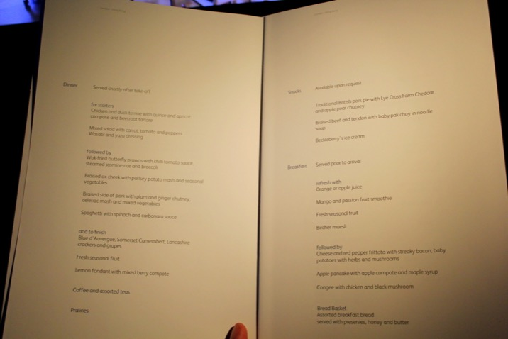Business Class Menu and Wine List, Cathay Pacific CX 256 London to Hong Kong