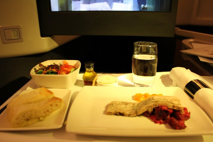 Dinner starter. Cathay Pacific CX 256 London to Hong Kong, business class